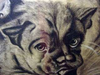 ANTIQUE STAFFORDSHIRE TERRIER DOG/PUPPY PASTEL 1800S OLD PAINTING