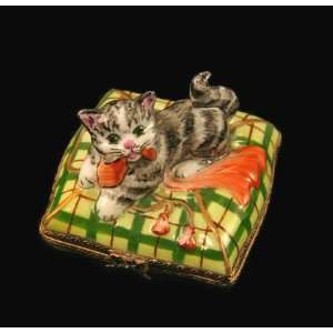 Cute Kitty Cat Playing French Limoges Box