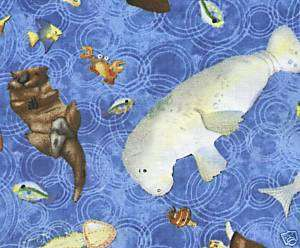 Rainy Days Sea Life DARK BLUE SSI Quilt Fabric 1 Yd