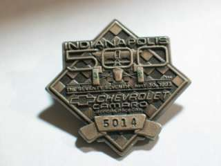 Camaro Indianapolis 500 Pit or Pass Pin Badge 1993 Racing Pin