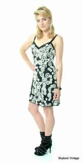 vtg Oleg Cassini Black Beaded Sequin Mini Dress S