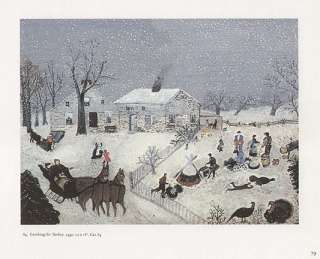 GRANDMA MOSES print winter scene CATCHING THE TURKEY