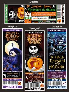 Personalized Halloween Birthday Nightmare before Christmas Ticket