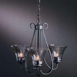Three Arms Chandelier With Water Glass  R080642 Finish Dark Smoke