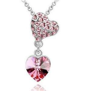 Beautiful Crystal Double Heart Charm Necklace Womens Gift for Wedding