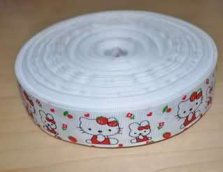 HELLO KITTY RED AND WHITE GROSGRAIN RIBBON   1 YARD