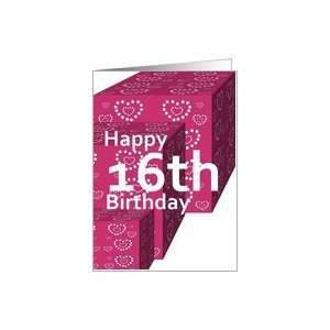 16 Birthday Greeting Card with Heart Covered Gifts Card