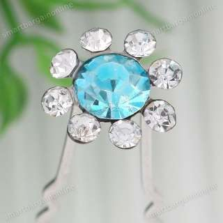 Color Crystal Flower Bridal Party Lady Hair Pin Clip Jewelry