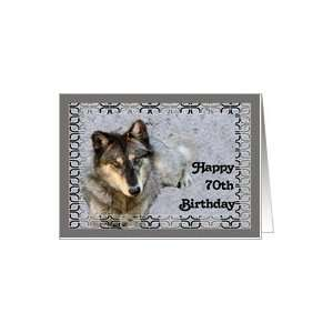 Birthday American Indian Wolf Card for 70th Card: Toys & Games