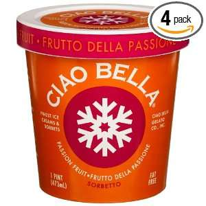 Ciao Bella Passion Fruit Sorbetto, 16 Ounce Cups (Pack of 4)