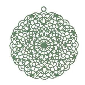 Sea Green Color Coated Brass Stampings By Ezel   Large Round Filigree