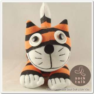 Handmade Orange Black Striped Sock Monkey Cheshire Cat Stuffed Animals