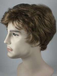 Light Brown Short Straight Mens Wig Wigs Black/Gray
