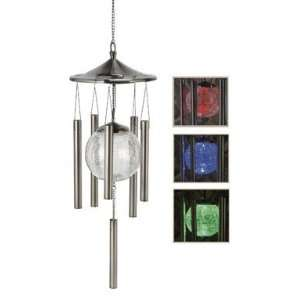 Sunergy Solar Powered Color Changing Glass Ball Wind Chime