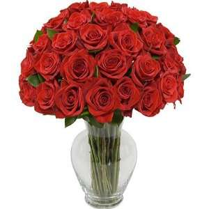 Three Dozen Long Stem Red Roses with Jordan Vase