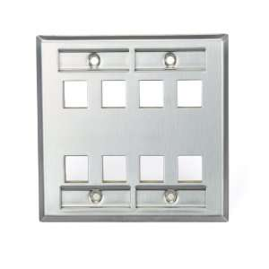 Wallplate, Dual Gang, 8 Port, Stainless Steel, with Designation Window