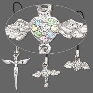 Heart and Angel Wing Cell Phone Purse Charm 3 Choices