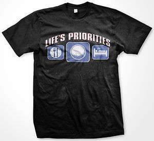 Lifes Priorities Food Sleep Golf Mens T shirt Outdoors Sports Golfing