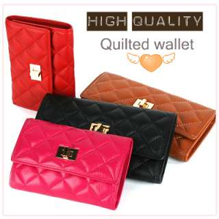KOREA]Women Genuine leather designer style QUILTED trifold long wallet