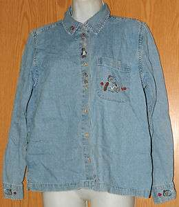 Womens Denim Embroidered Christopher & Banks Long Sleeve Shirt Size