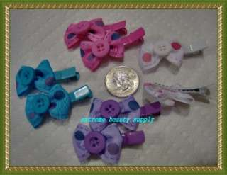 small girl hair clip pin bow Barrette TODDLER Dog 6