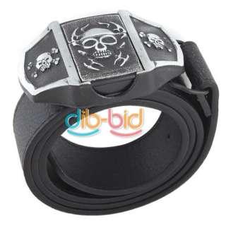 Pirate Lighter Belt Buckle Skull Skeleton Cross Bones Leather Gift
