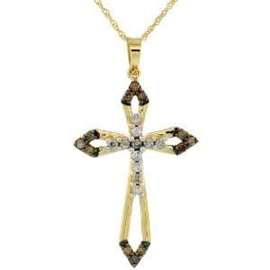 Sword Cross Pendant w/ 0.32 Carat Brilliant Cut White & Fancy Brown