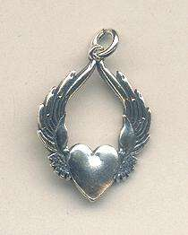 which sports wings Measures 3/4 wide by 1 long. Sterling Silver