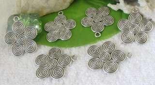15pcs Tibetan silver spiral flower charms FC9156