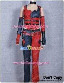 Arkham City Harley Quinn Costume Dress Red Leather Joker Dark Night