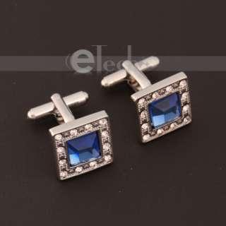 New Classic Men`s Elegant Blue Square Crystal Wedding Cufflinks Cuff