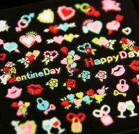 Nail Tips Manicure 3D Art Decal Sticker Valentine Day Heart Made in