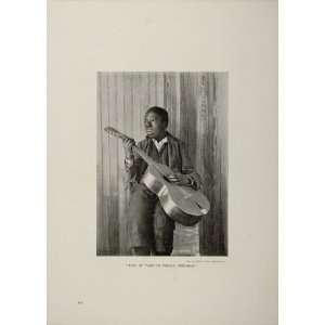 Black Americana Boy Guitar John H. Tarbell   Original Halftone Print