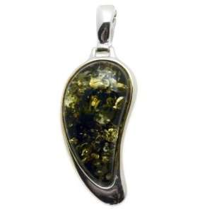 Green Amber and Sterling Silver Angel Wing Enhanced