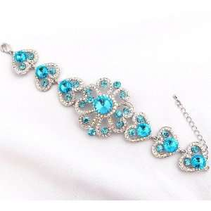 Prom Big Aquamarine Crystal Rhinestone Flower Bracelet Everything