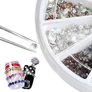 1500 Mix Shape Nail Art Tips Glitter Rhinestones Wheel