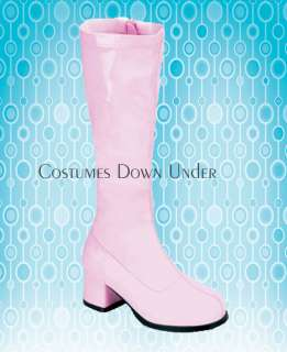 GIRLS PINK GOGO BOOTS knee length S 11 12 13 1 2 3 4 5