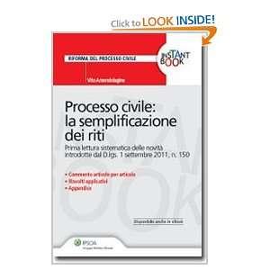 La semplificazione dei riti (9788821736889): Vito Amendolagine: Books