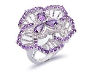 57 ct Amethyst & Diamond Beautiful Custom Set Flower Ring