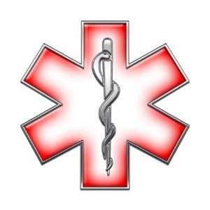 Star of Life EMT EMS Red 6 Reflective Decal Automotive