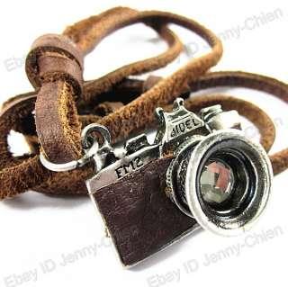 Mens COOL Unisex punk charm Camera Pendant Genuine Leather Necklace