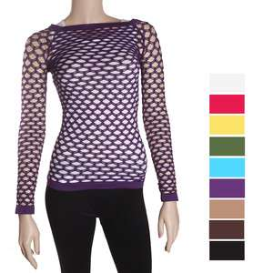 Womens long sleeve solid seamless mesh top,purple,green,pink,yellow