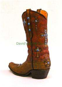 Western Ranch Decor 12 Resin Cowboy Boot With Crosses 111149