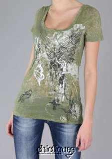 MISS ME Tee Top Shirt Butterfly Wing Sequin Bead Sz L