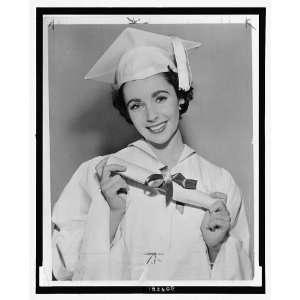 Elizabeth Taylor,diploma,University High School,LA,1950