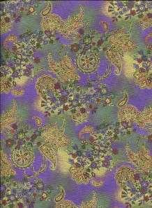 SAYAN PAISLEY FLORAL PURPLE GREEN Cotton Quilt Fabric
