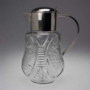 Water Pitcher, Silverplate/Glass Etched Grape Design Home