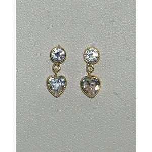 14K Yellow Gold CZ Birthstone Dangling Heart Earrings