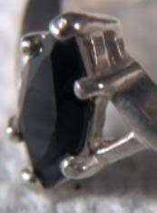 Sterling Silver Genuine Marquise Cut Black Sapphire Ring Size 7 3/4