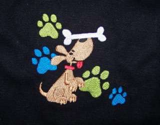 & Colorful Paw Prints Custom Embroidered Cotton Canvas Tote Bag NWT
